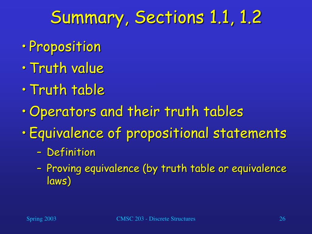 Summary, Sections 1.1, 1.2
