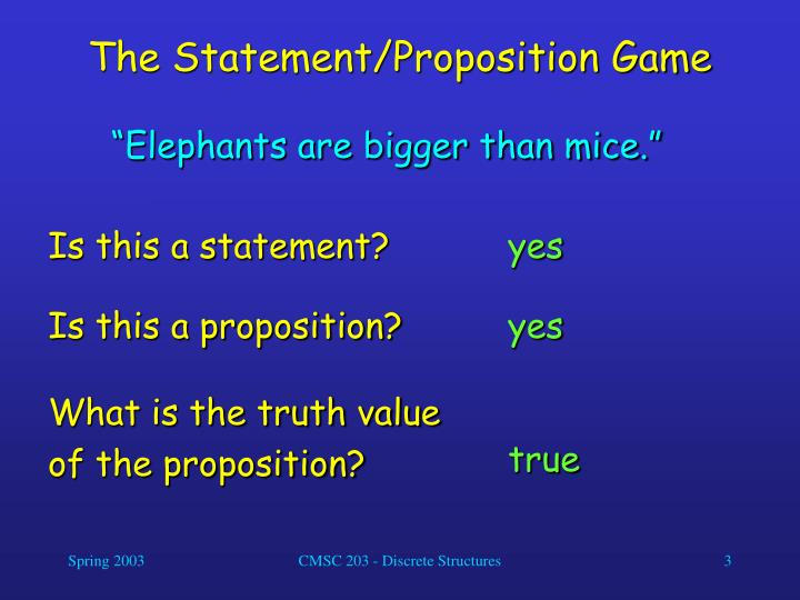 The statement proposition game