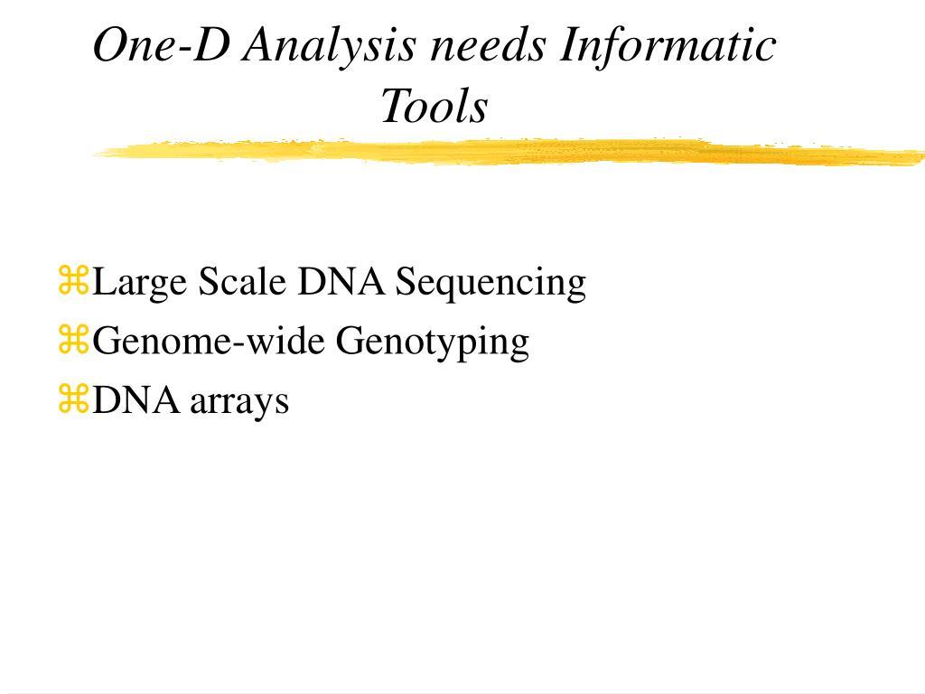 One-D Analysis needs Informatic Tools