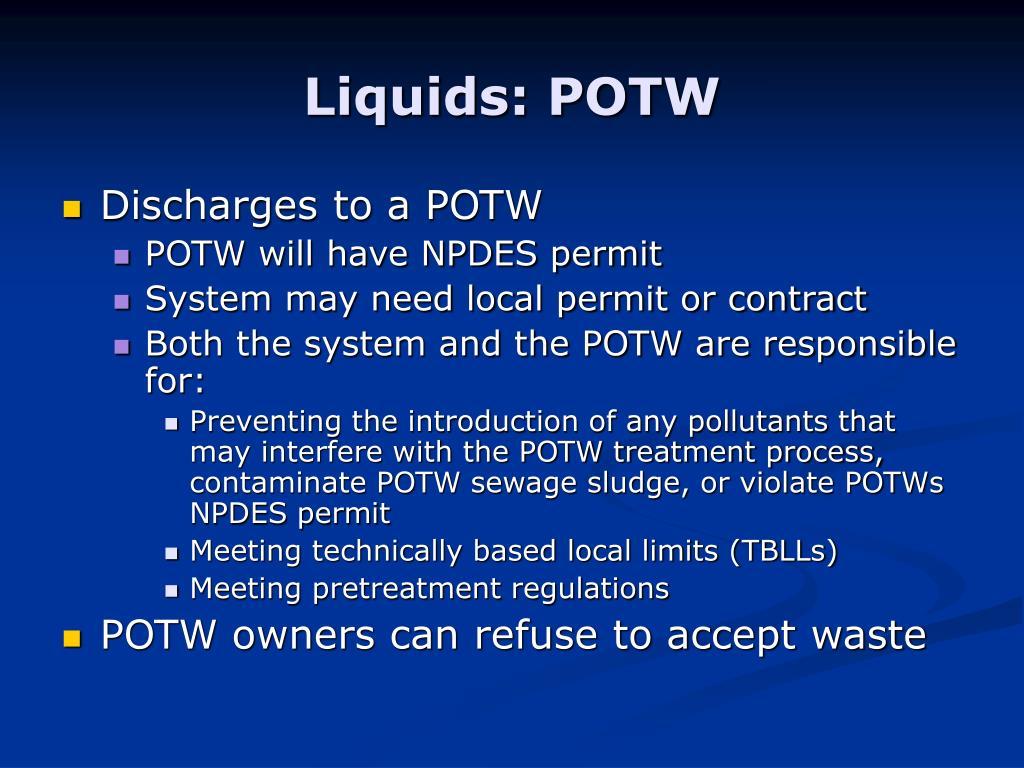 Liquids: POTW