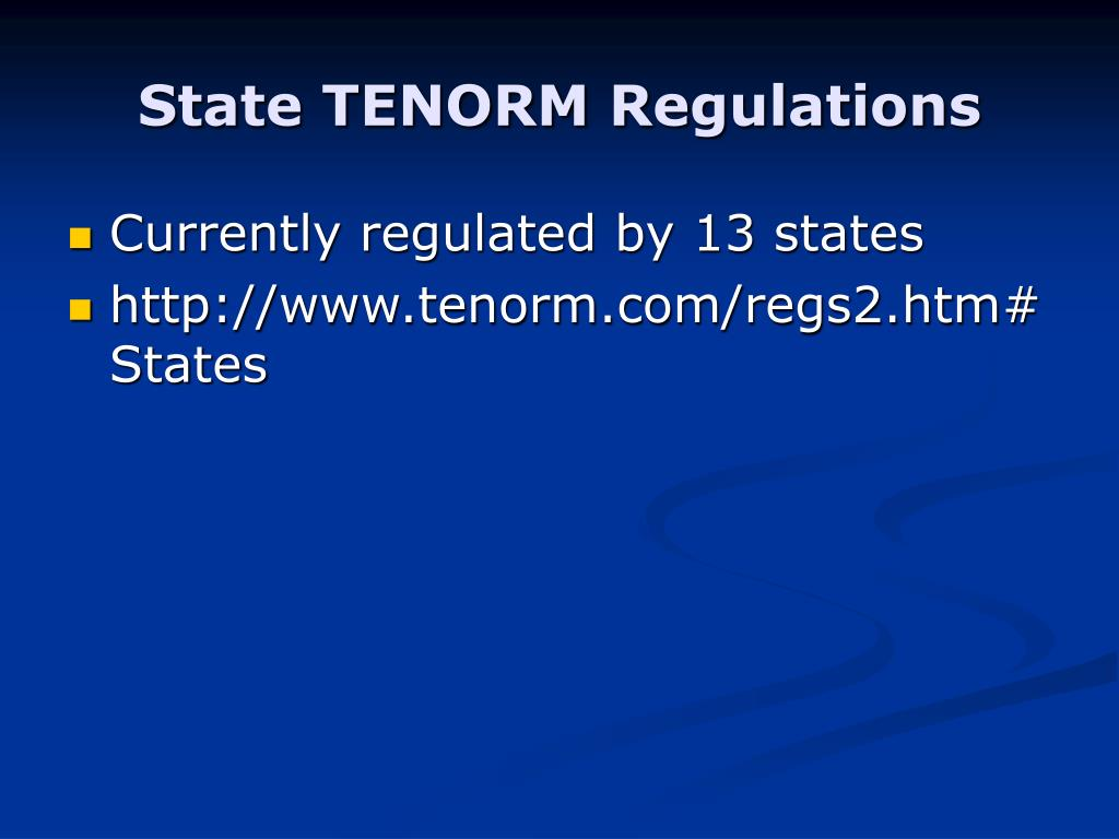 State TENORM Regulations