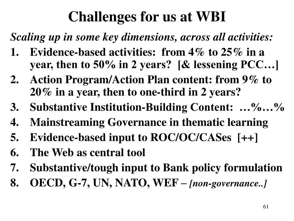 Challenges for us at WBI