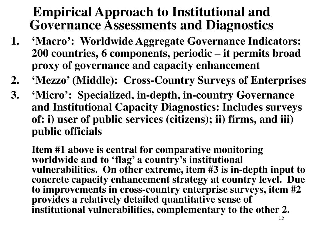 Empirical Approach to Institutional and Governance Assessments and Diagnostics