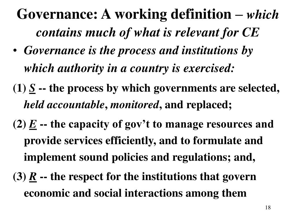 Governance: A working definition –