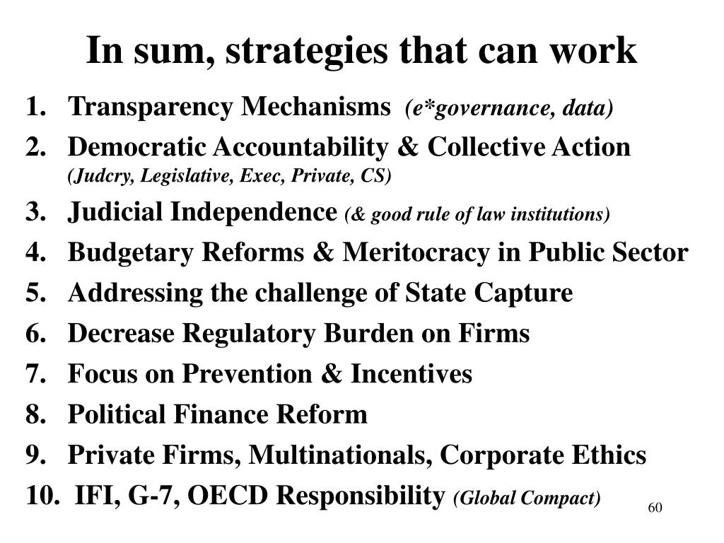 In sum, strategies that can work