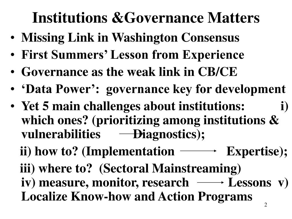 Institutions &Governance Matters
