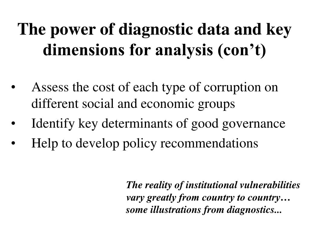 The power of diagnostic data and key dimensions for analysis (con't)