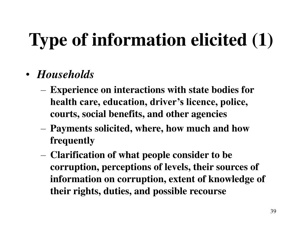Type of information elicited (1)
