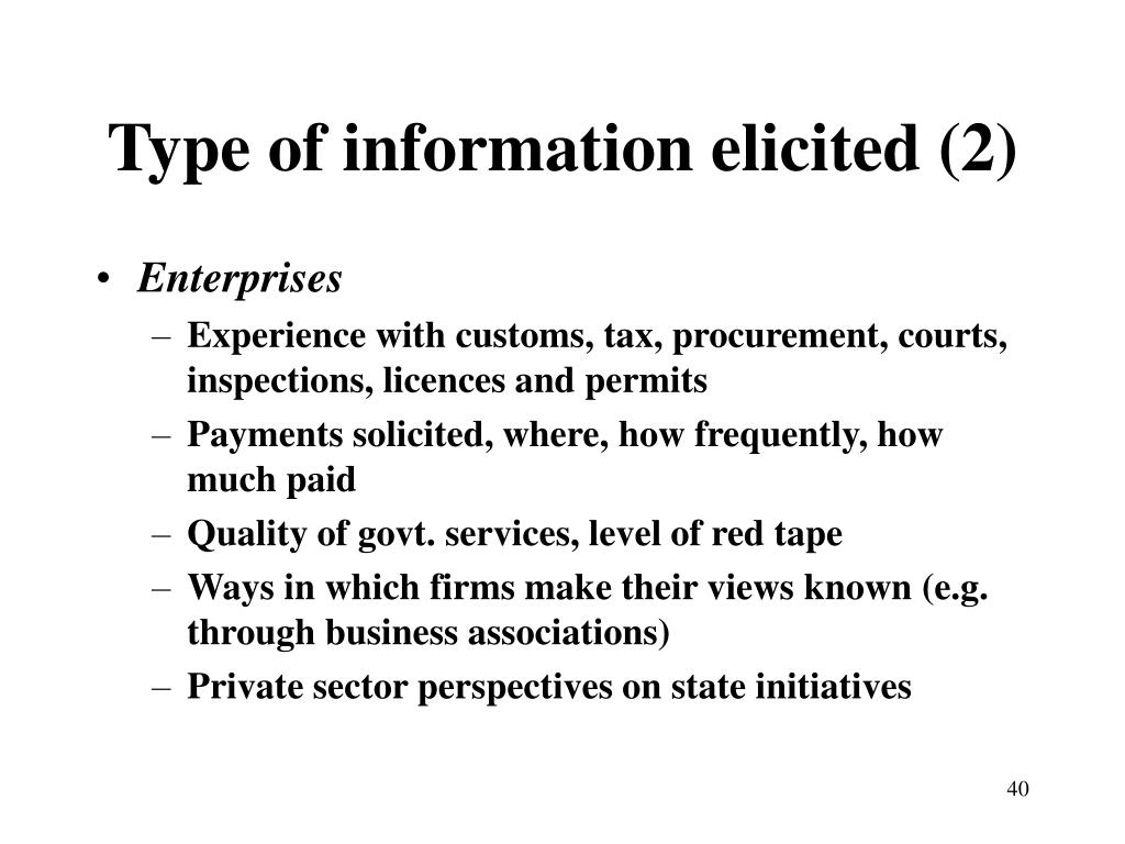 Type of information elicited (2)