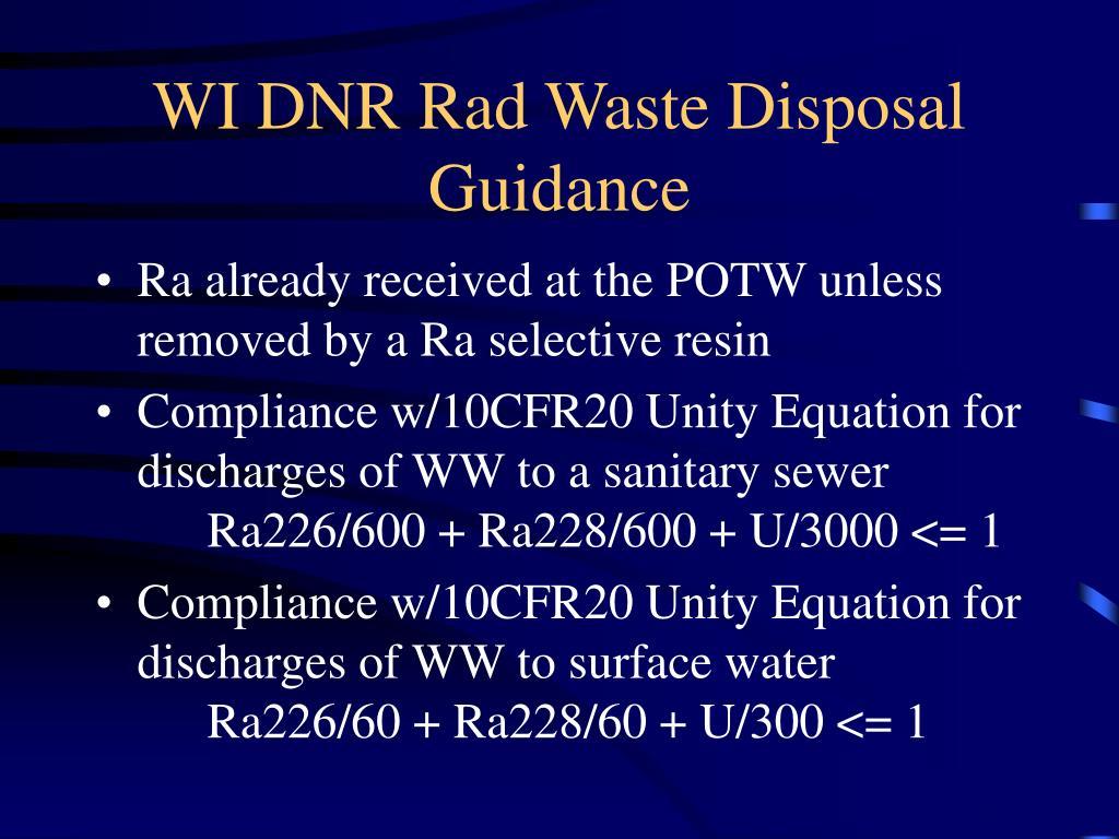 WI DNR Rad Waste Disposal Guidance