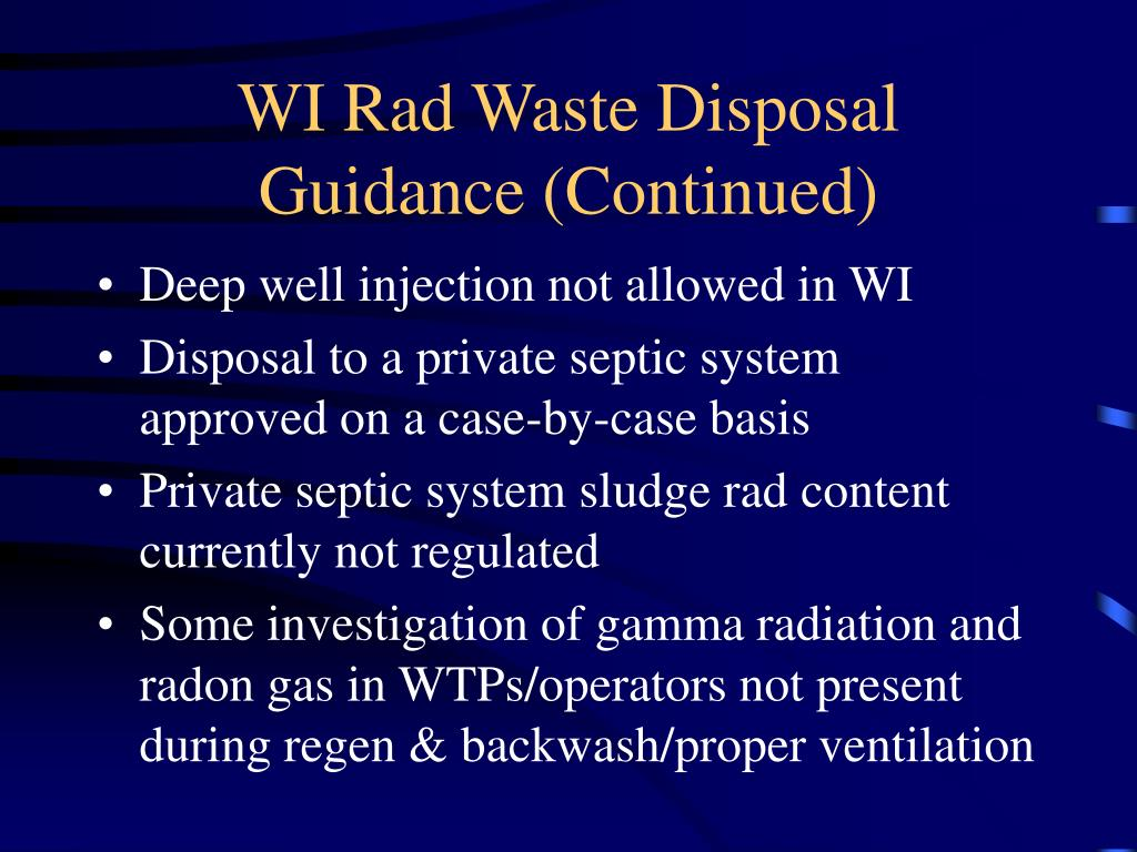 WI Rad Waste Disposal Guidance (Continued)