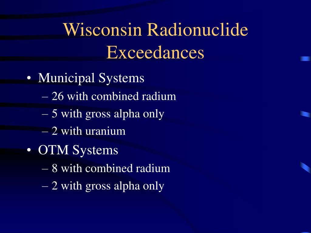 Wisconsin Radionuclide Exceedances