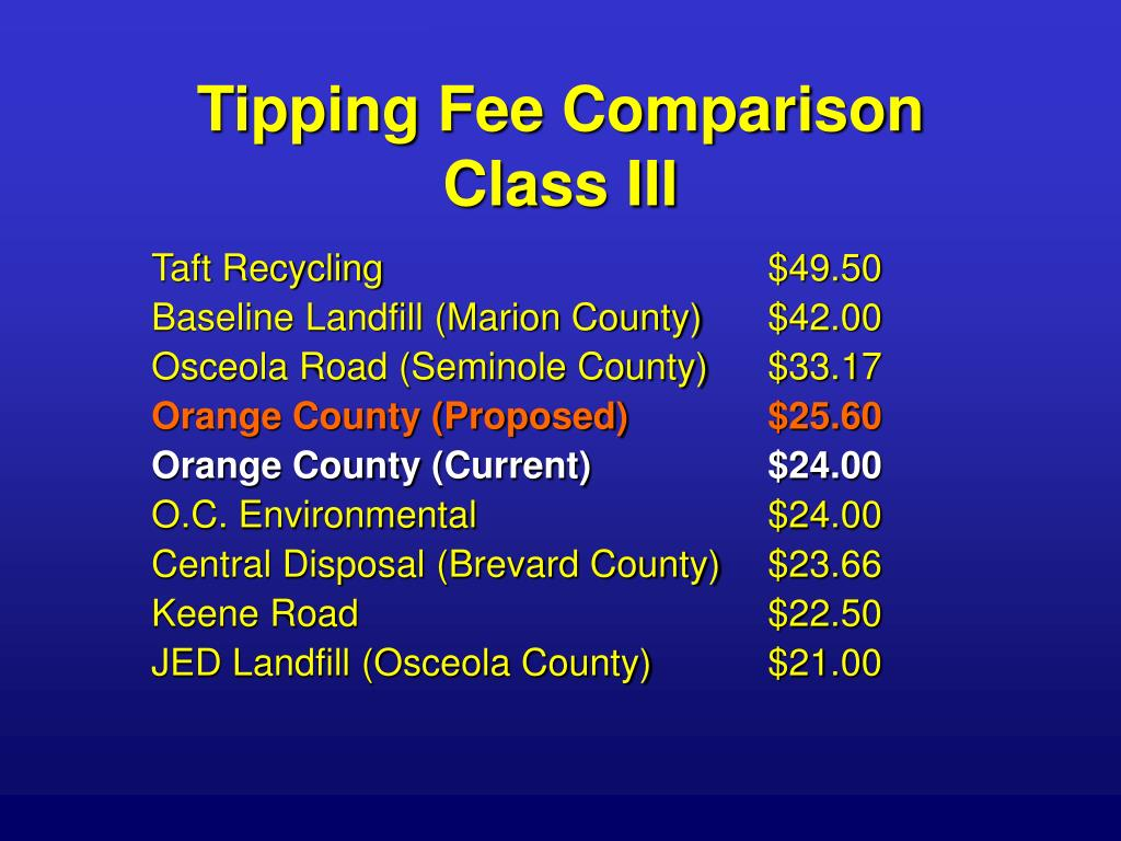 Tipping Fee Comparison
