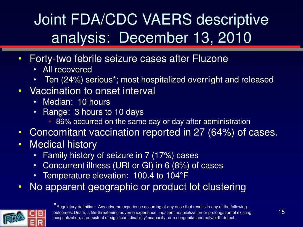 Joint FDA/CDC VAERS descriptive analysis:  December 13, 2010