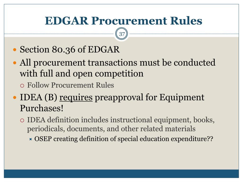 EDGAR Procurement Rules