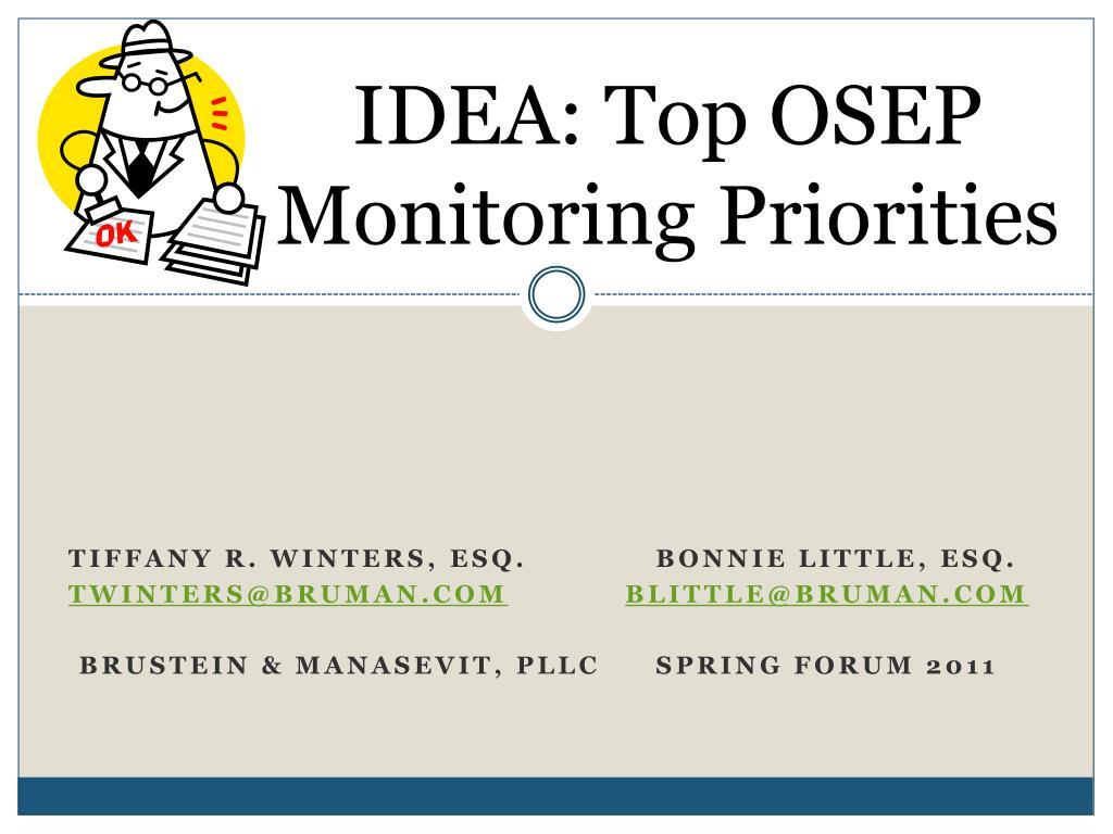 IDEA: Top OSEP Monitoring Priorities