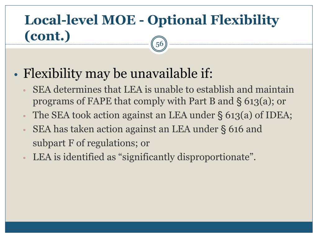 Local-level MOE - Optional Flexibility (cont.)