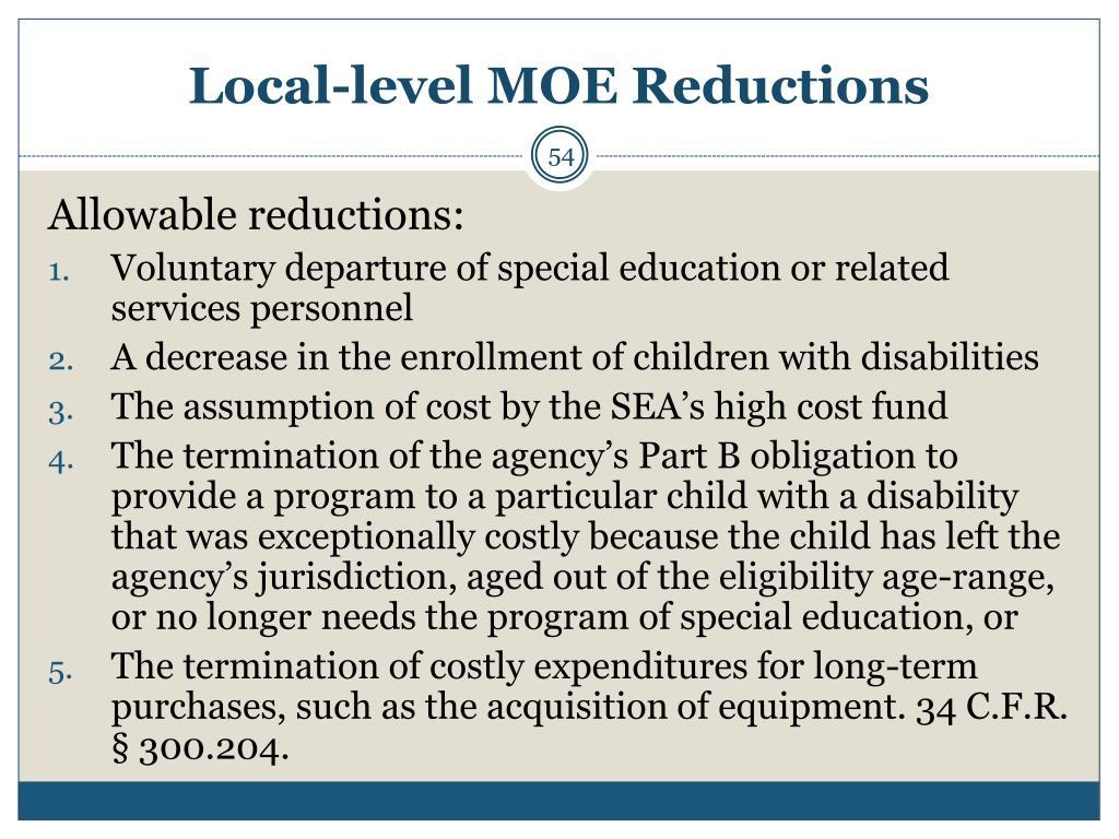 Local-level MOE Reductions