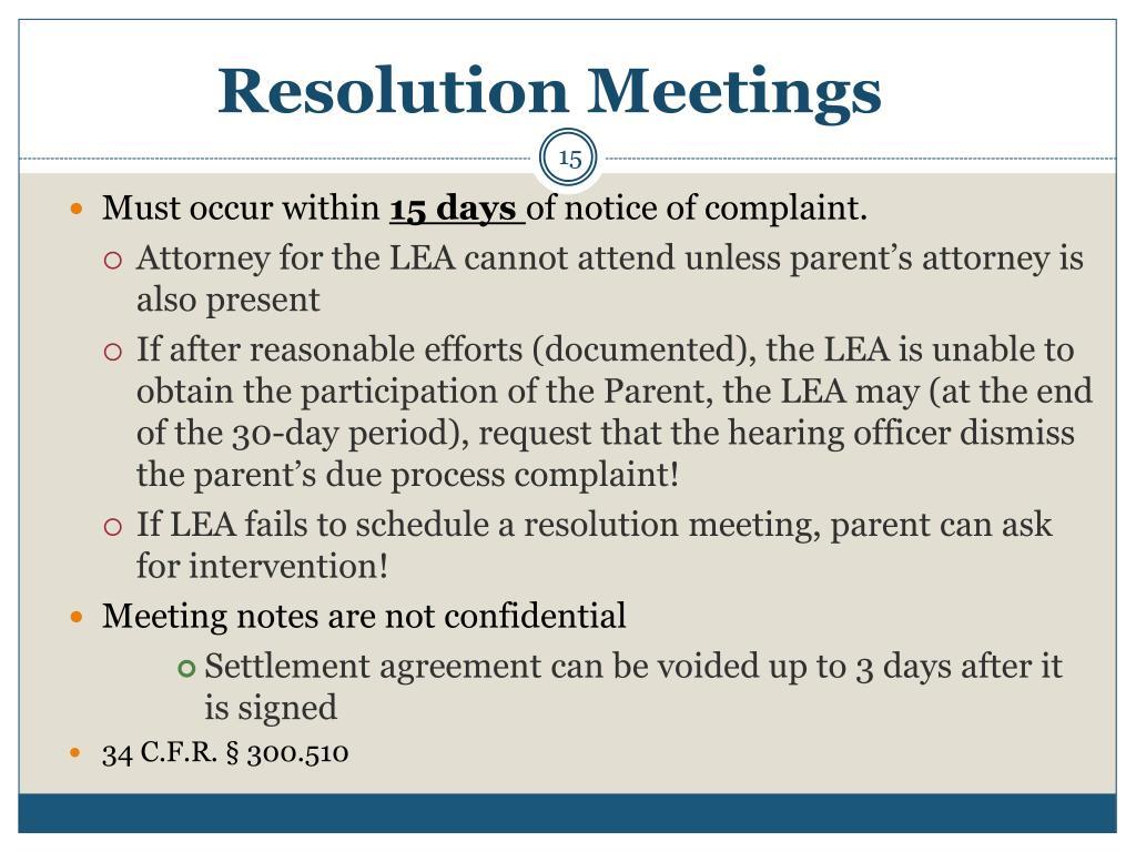 Resolution Meetings