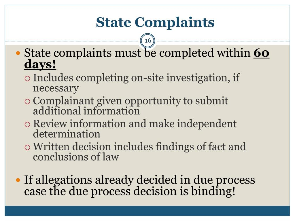 State Complaints