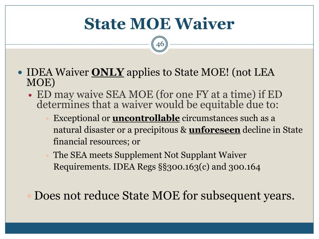 State MOE Waiver