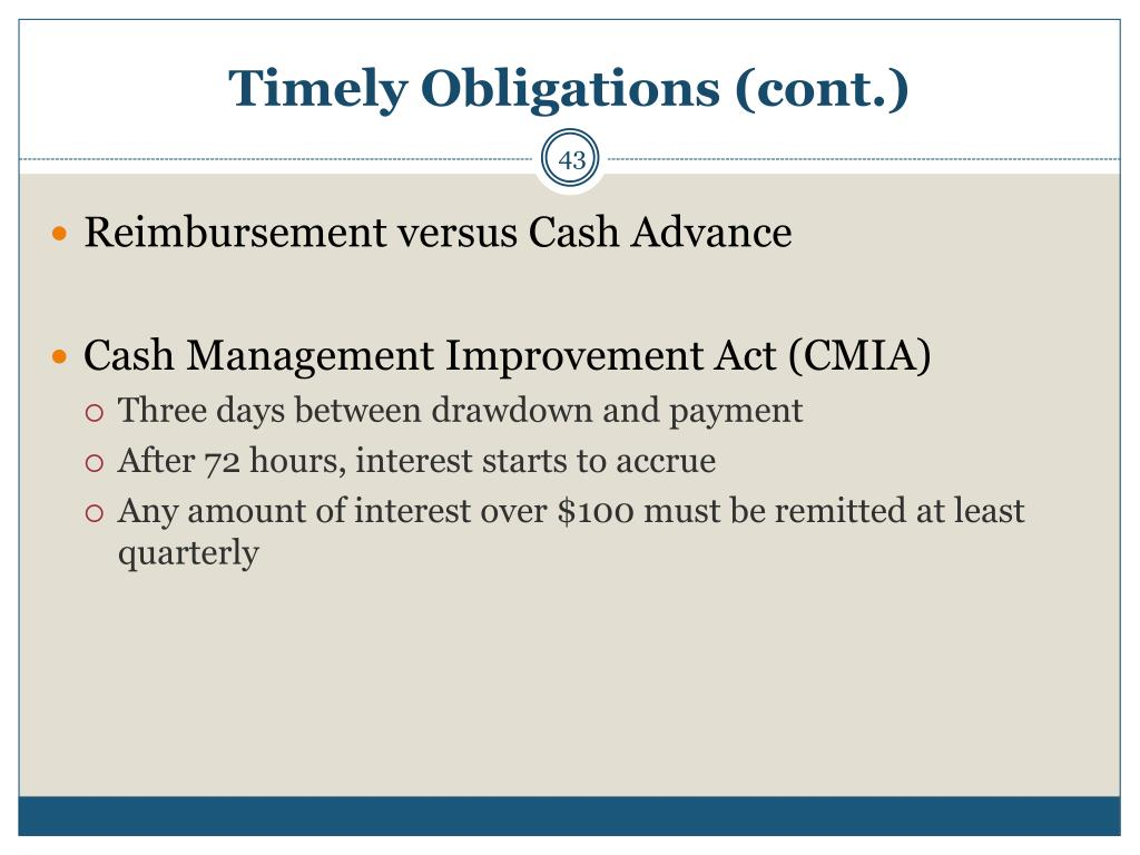 Timely Obligations (cont.)