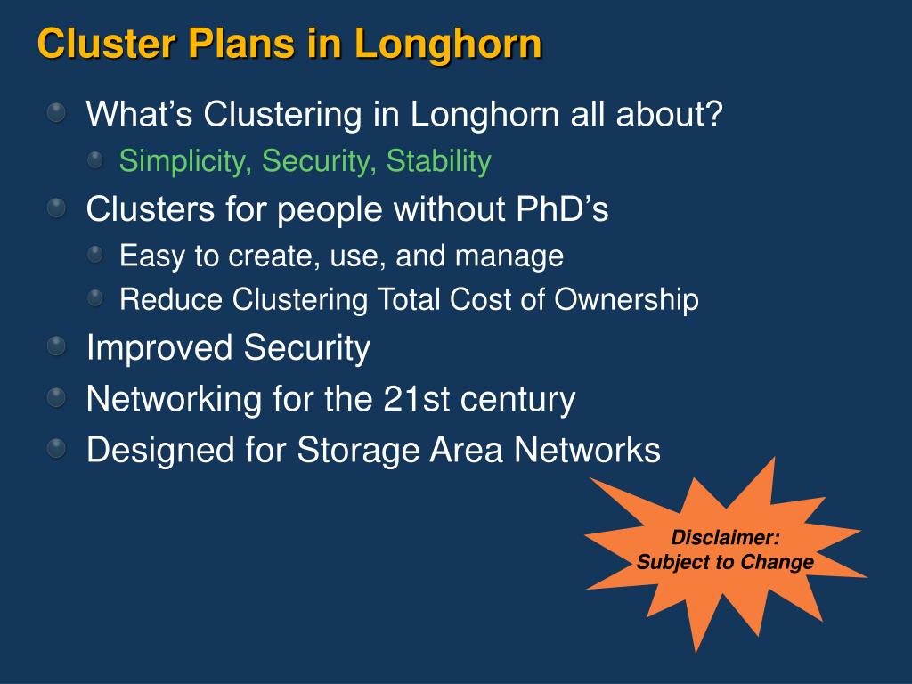 Cluster Plans in Longhorn