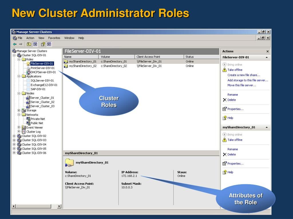New Cluster Administrator Roles