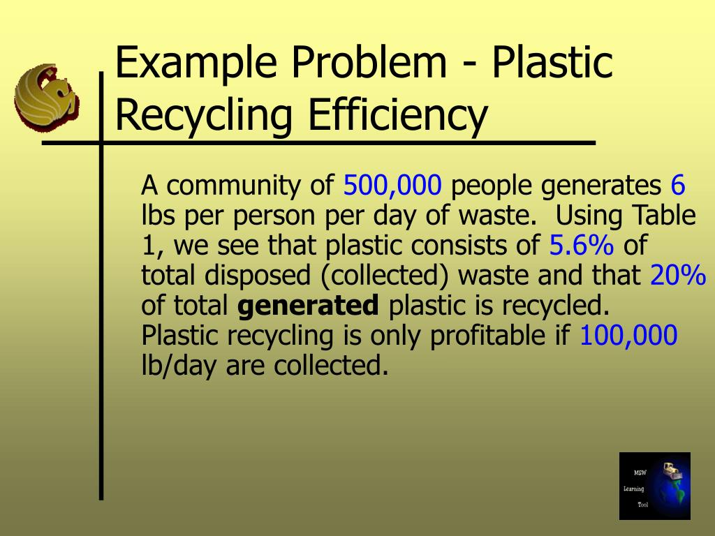 Example Problem - Plastic Recycling Efficiency