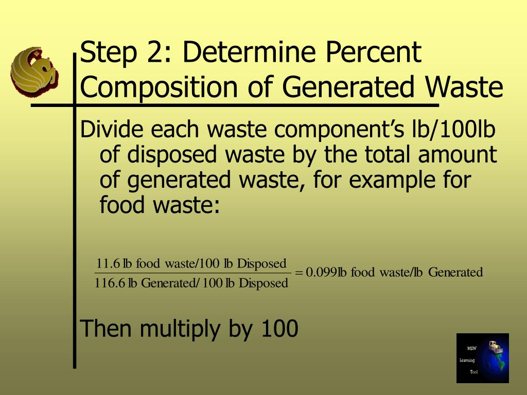 Step 2: Determine Percent Composition of Generated Waste