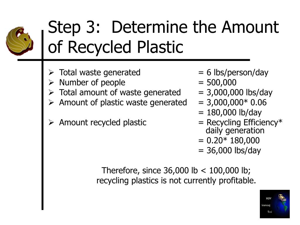 Step 3:  Determine the Amount of Recycled Plastic