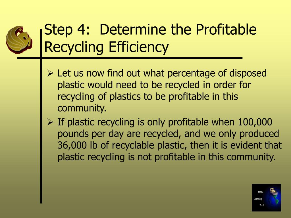 Step 4:  Determine the Profitable Recycling Efficiency