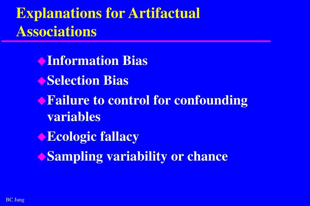 Explanations for Artifactual Associations