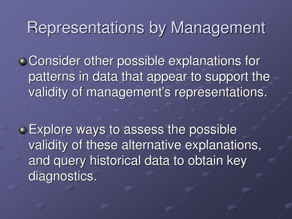 Representations by Management