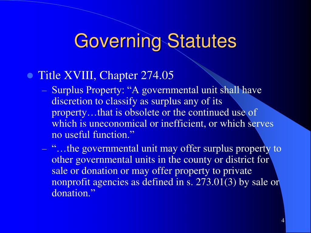 Governing Statutes