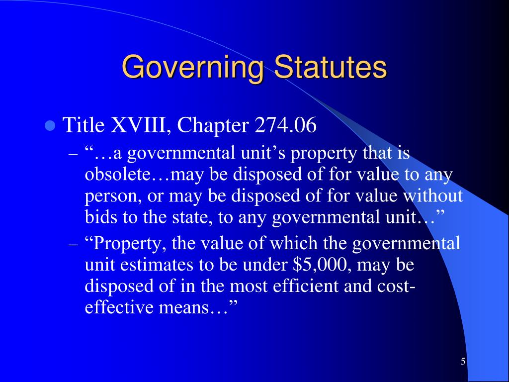 Governing Statutes