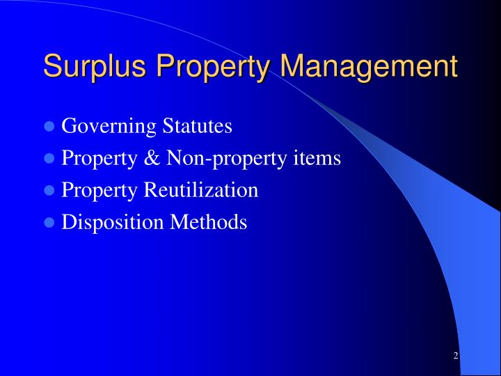 Surplus property management l.jpg