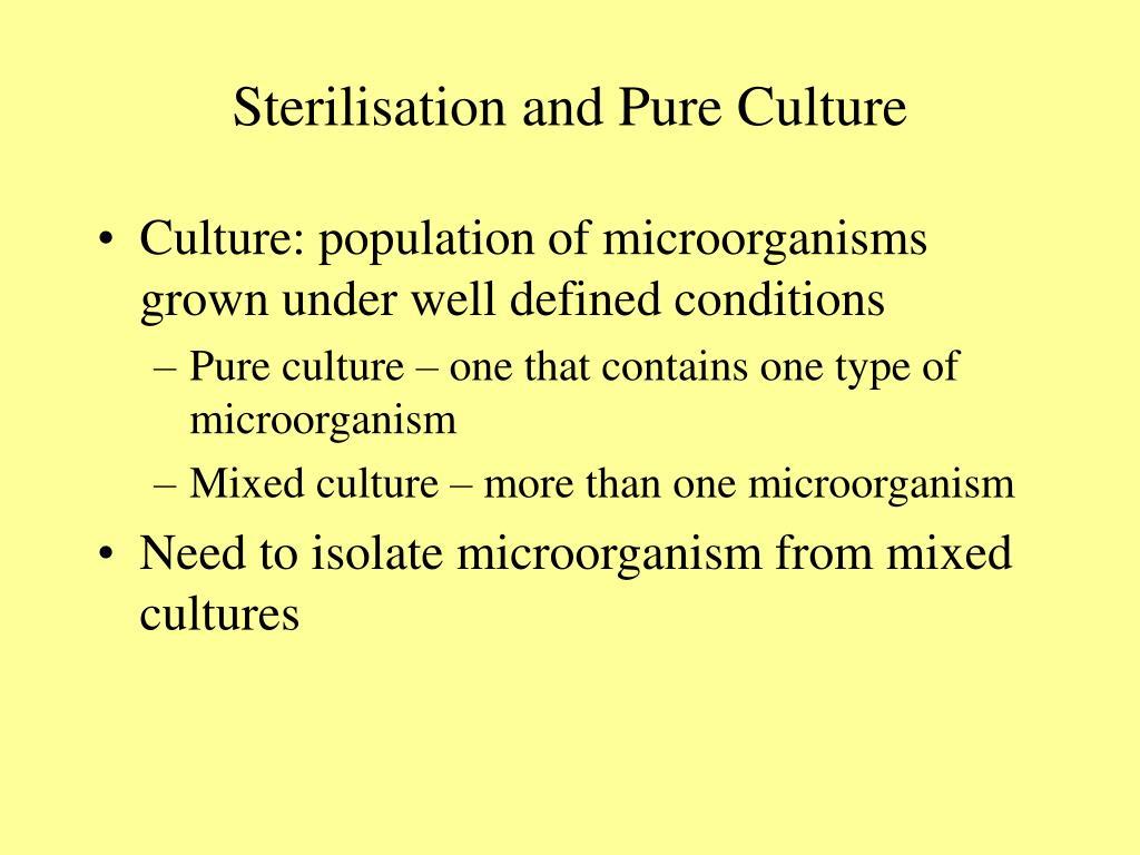 Sterilisation and Pure Culture