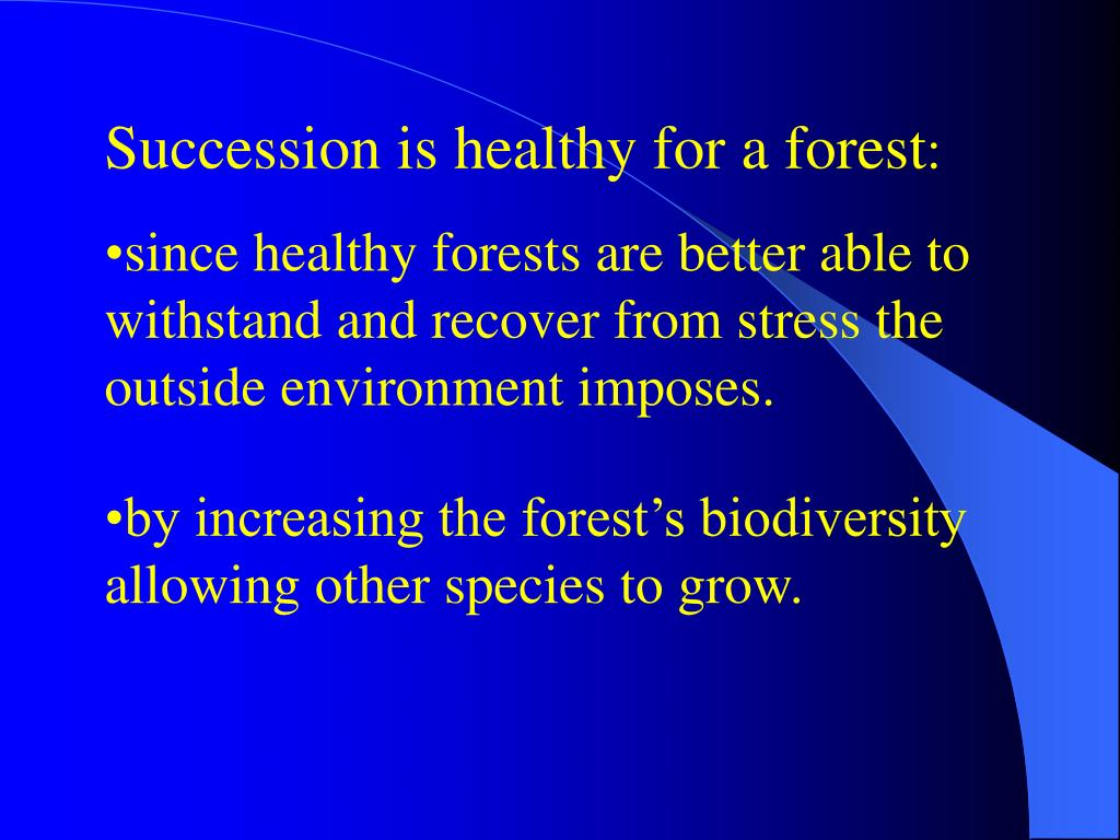 Succession is healthy for a forest
