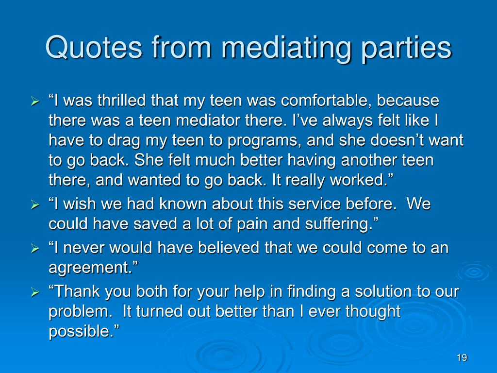 Quotes from mediating parties