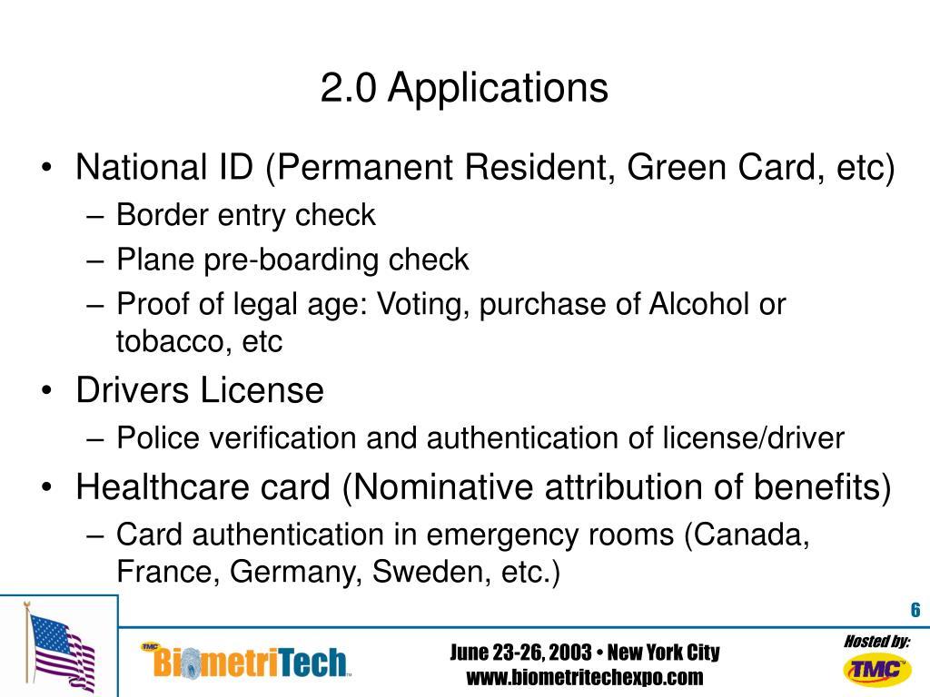 2.0 Applications