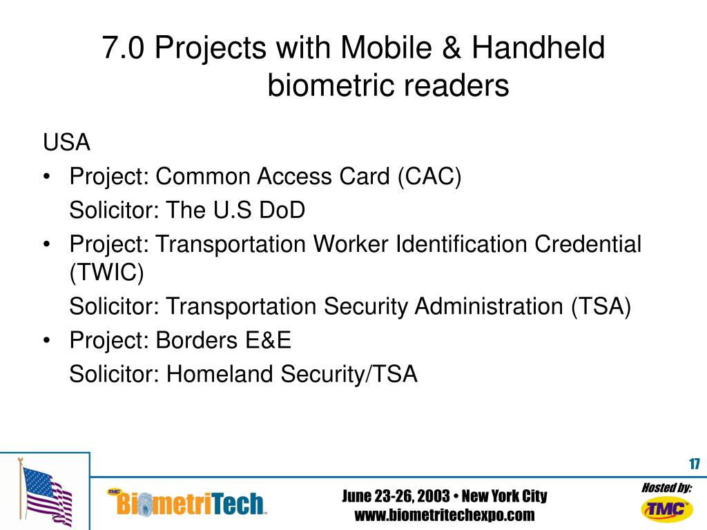 7.0 Projects with Mobile & Handheld 	biometric readers