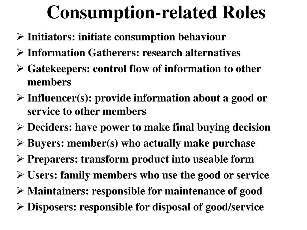 Consumption-related Roles