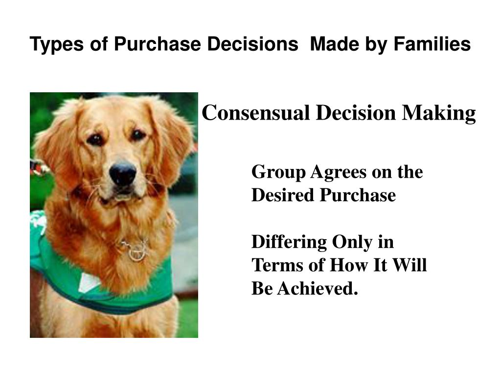 Types of Purchase Decisions  Made by Families