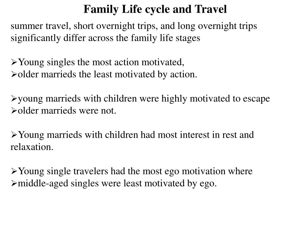 Family Life cycle and Travel