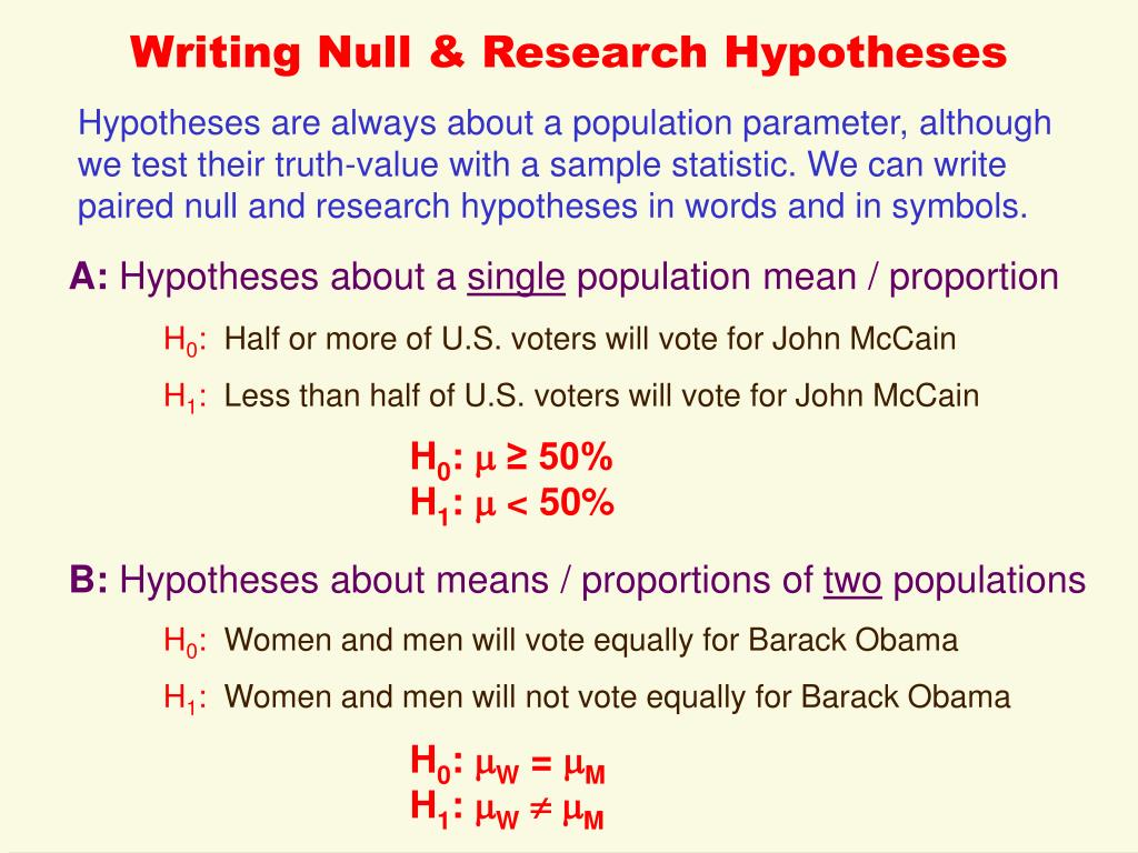 Writing Null & Research Hypotheses
