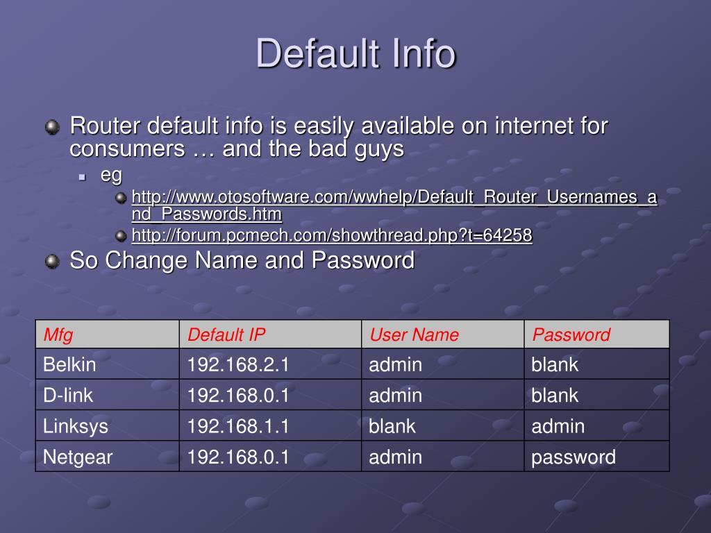 Default Info