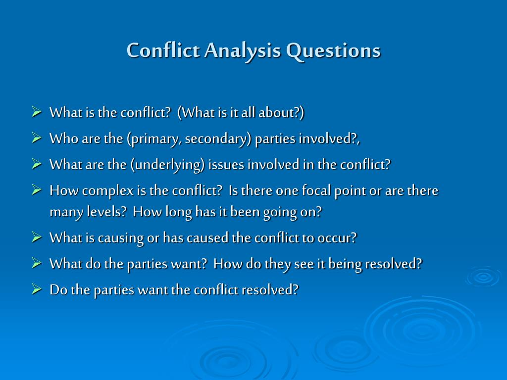 Conflict Analysis Questions