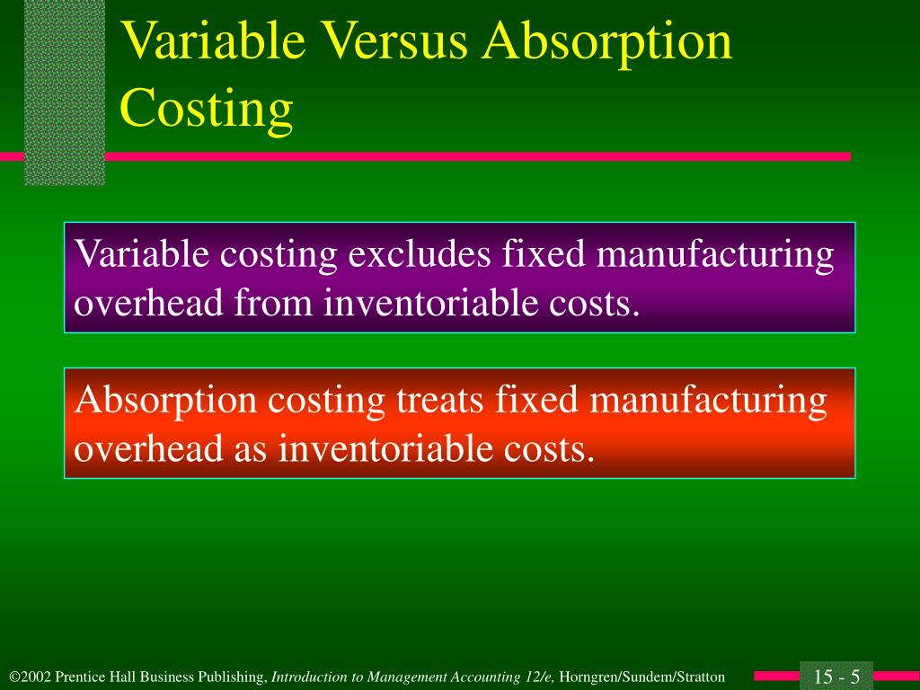 variable costing vs absorption costing essay