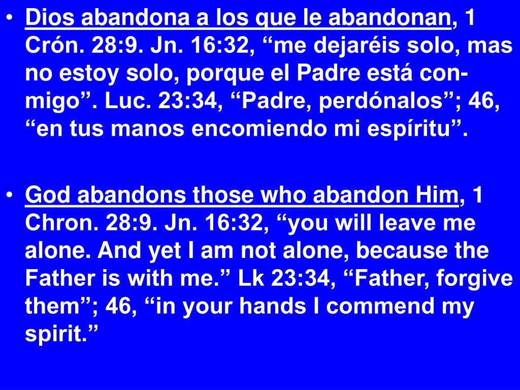 Dios abandona a los que le abandonan
